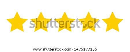 Stars rating icon set. Gold star icon set isolated on a white background