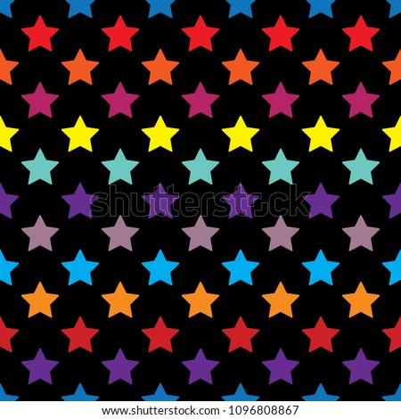 stars seamless pattern full color on black background vector eps10 editable