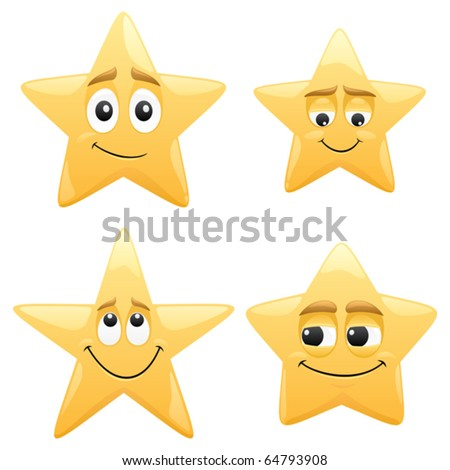 Stars: 4 shiny cartoon stars. The apple of their eyes can be easily moved to whatever direction you want in the vector file. No transparency used. Basic (linear) gradients used.