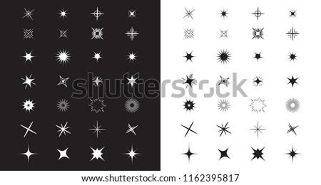 stars sparkles sign symbol set