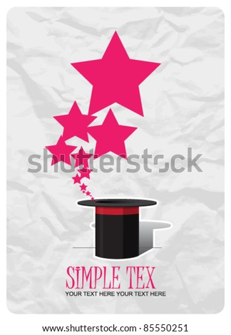 Stars taking off from magic hat. Vector illustration. Place for your text.