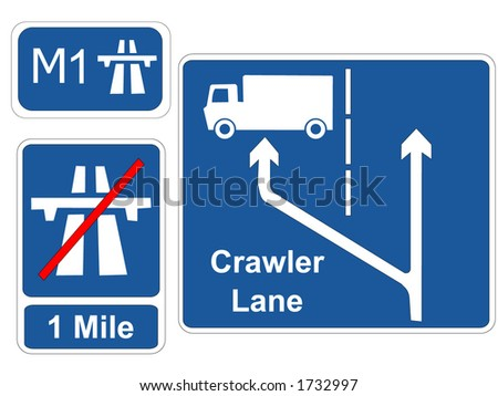 start and end of motorway signs and crawler lane sign