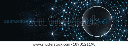 Start and innovation banner. Press a start button with the word innovation. Abstract technology background Hi-tech communication concept futuristic digital innovation. Vector background.