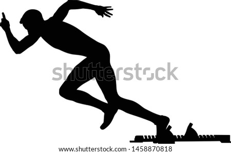 start athlete runner starting blocks black silhouette in athletics
