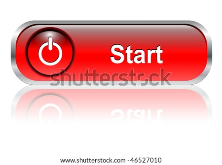 Start button, icon red glossy with shadow, vector illustration