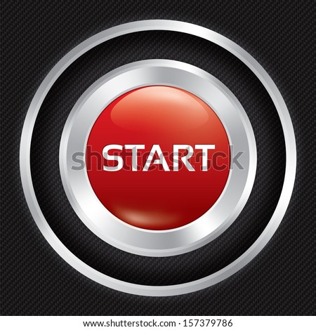Start button on Carbon fiber background. Vector realistic metallic icon with gradient. Seamless texture.