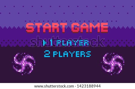 Start game, choose player, space pixel game in purple color decorated by stars, screen of war video-game with wye sign, shine element, adventure vector, menu for pixelated app games
