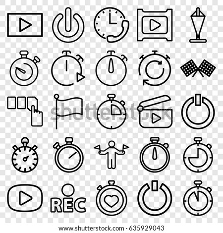 Start icons set. set of 25 start outline icons such as man with flags, push button, stopwatch, rec, play, switch off, finish flag