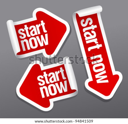 Start now stickers set. - stock vector