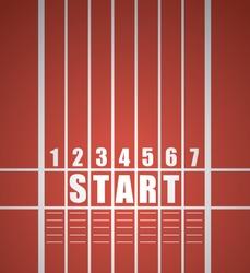 Start track. line on a red running track, vector / Start track.