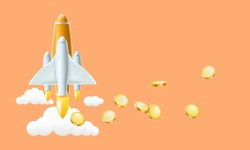 Start up and money transfer concept. Rocket with money coins on background. Vector illustration design.