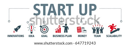 Start up banner. Chart with keywords and icons