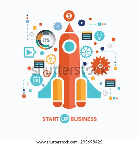 Start up business concept design on white background,clean vector