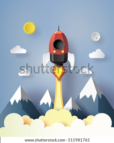Start up business concept. rocket  flying on the air,paper art style.