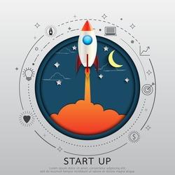 Start up business concept.Rocket style in flat line and paper art design.Vector illustration.