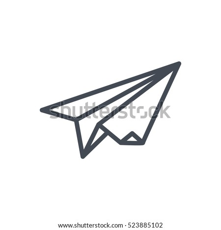 Start Up Business Outlined Line Vector Icon Paper Plane