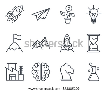 Start Up Business Outlined Line Vector Icon Set Icon Pack startup