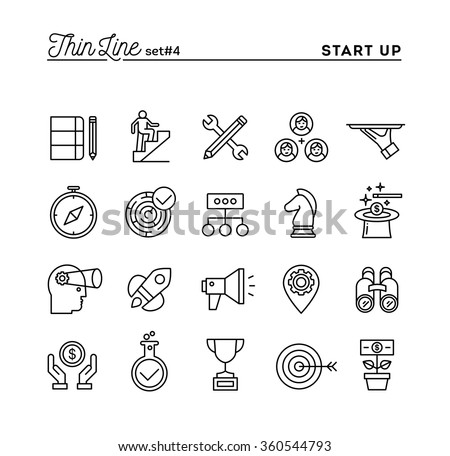 Start up business, strategy, marketing, finance and more, thin line icons set, vector illustration