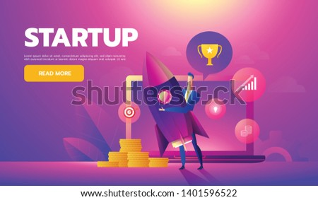 Start up concept. Businessman holds a flying rocket in hand, symbol of start of project's launch. Vector illustration cartoon flat design Photo stock ©