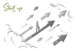Start up concept. Hand drawn businessman start to climb up growth stair. Successful business isolated vector illustration.