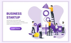 Start up concept with people are working together building a rocket for launching new business start up. Can use for web banner, infographics, landing page, web template. Vector illustration