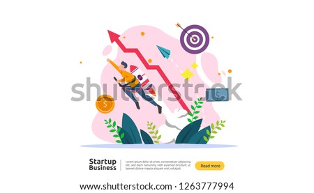 start up idea concept. project business with rocket tiny people character. new product or service launch template for web landing page, banner, presentation, social, print media. Vector illustration