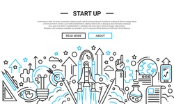 Start up - illustration of vector modern plain line design composition and infographics elements with a shuttle launch scene. Header, banner for your site.