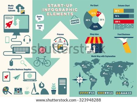 start up info graphic vector