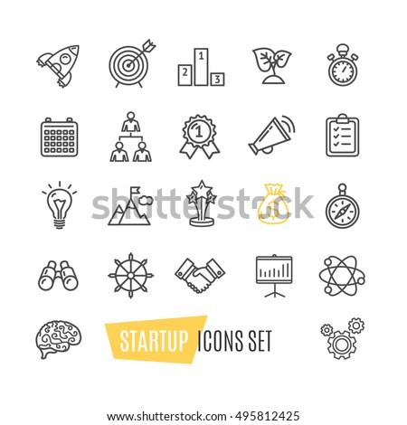 Start Up, Motivation, Brainstorming Icon Set Pixel Perfect. Material Design. Vector illustration of Idea Bulb, Brain, Money, Development, Handshake, Rocket and Partnership Icons #495812425