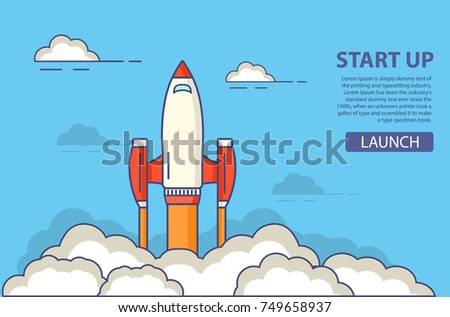 Start up of business.Start of a space rocket  in flight. A concept of design of a banner for the websites,mobile applications.Project development.In flat style vector linear art.Launch spaceship.