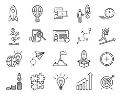 Start Up Sign Black Thin Line Icon Set Include of Rocket, Target and Money. Vector illustration of Icons