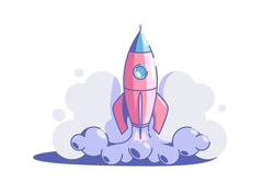 Start up symbol vector illustration. Rocket launch flat style. Business creativity and achievement. Success and goal. New creative idea and project strategy concept. Isolated on white background