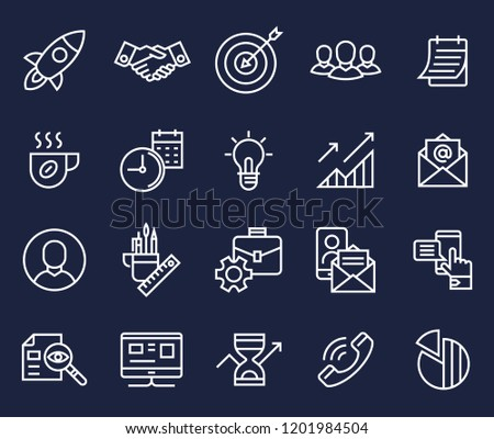 start up, teamwork, cooperation business, idea, brain storm vector flat line icons set