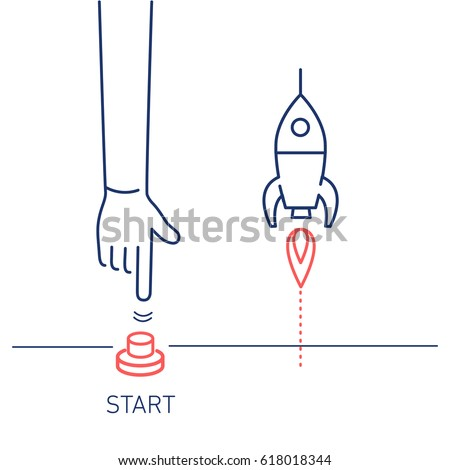 Start up. Vector business illustration of hand pushing start button and rocket | modern flat design linear concept icon and infographic red and blue on white background