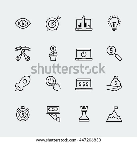 Start-up vector icon set in thin line style