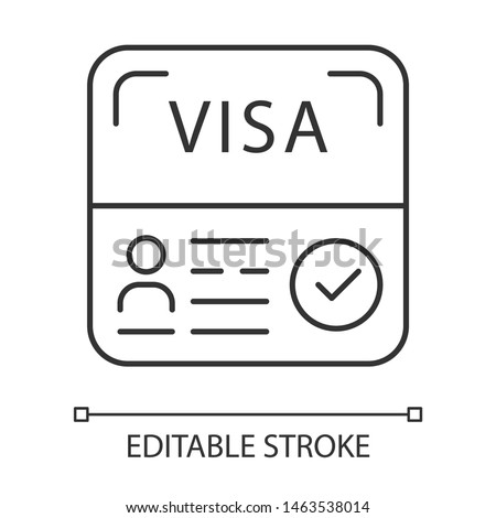 Start up visa linear icon. Temporary residence permit. Tourist paperwork. Immigration. Travel approval. Thin line illustration. Contour symbol. Vector isolated outline drawing. Editable stroke