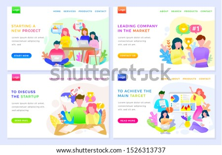Starting new project vector, discuss startup achieve main target. Business of people working in team, achieving results and success goals. Website or webpage template, landing page flat style