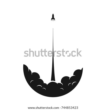 Starting rocket on a white background with clouds of smoke