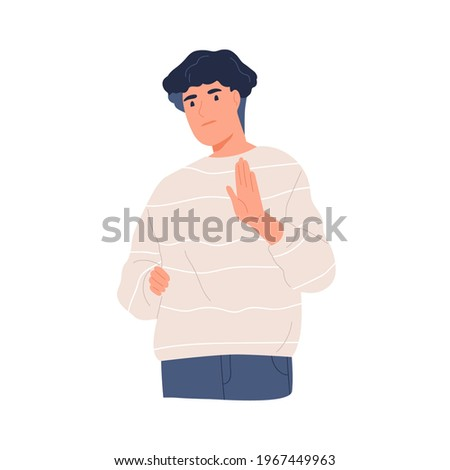 Startled person gesturing stop with his hand palm. Denial, refusal or rejection sign in non-verbal communication and body language. Colored flat vector illustration isolated on white background Stockfoto ©
