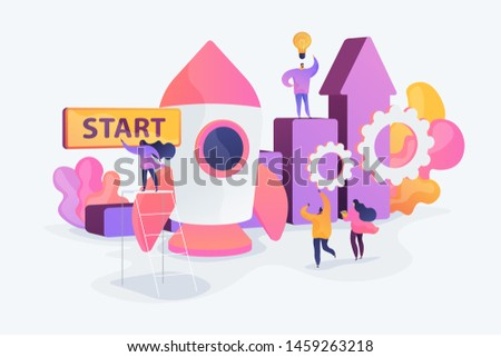 Startup accelerator, seed accelerator, startup mentoring concept. Vector isolated concept creative illustration.