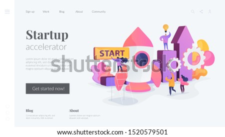 Startup accelerator, seed accelerator, startup mentoring concept. Website homepage header landing web page template.