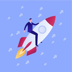 Startup and successful innovation business launch concept. Vector flat person illustration. Businessman character sit on rocket fly in sky. Rise arrow sign. Design element for banner, poster, web