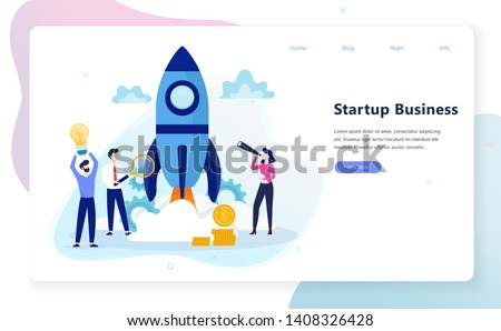Startup and teamwork concept web banner. Business profit and financial growth. Successful strategy. Vector illustration in cartoon style