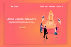 Startup business consulting strategy and financial or fin-tech business. Isometric human and rocket take off with artificial intelligence or ai control can be use the landing page background.