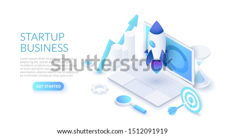 Startup business design concept with rocket, laptop and hourglass. Isometric vector illustration. Landing page template for web.