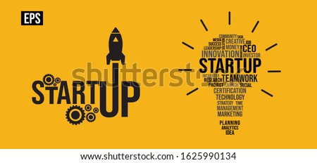 Startup business Vector illustration typography, word lettering, startup logo, symbol icon EPS illustration with bulb, rocket, isolated on yellow background