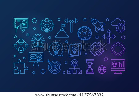 Startup colored creative horizontal illustration - vector start-up banner made with outline icons on dark background