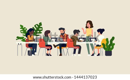 Startup company team meeting. Focus group vector concept illustration. Businesswoman talks to her coworkers at negotiation table. Presentation event flat style characters
