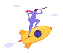Startup Concept with Businessman Character Looking Through Spyglass Flying on Rocket. New Business Project Launching, Successful Start Up. Innovation Idea Research. Cartoon Flat Vector Illustration