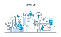 Startup, creative, modern information technology, business and business processes, the implementation of ideas. Illustration thin line design of vector doodles, infographics elements.